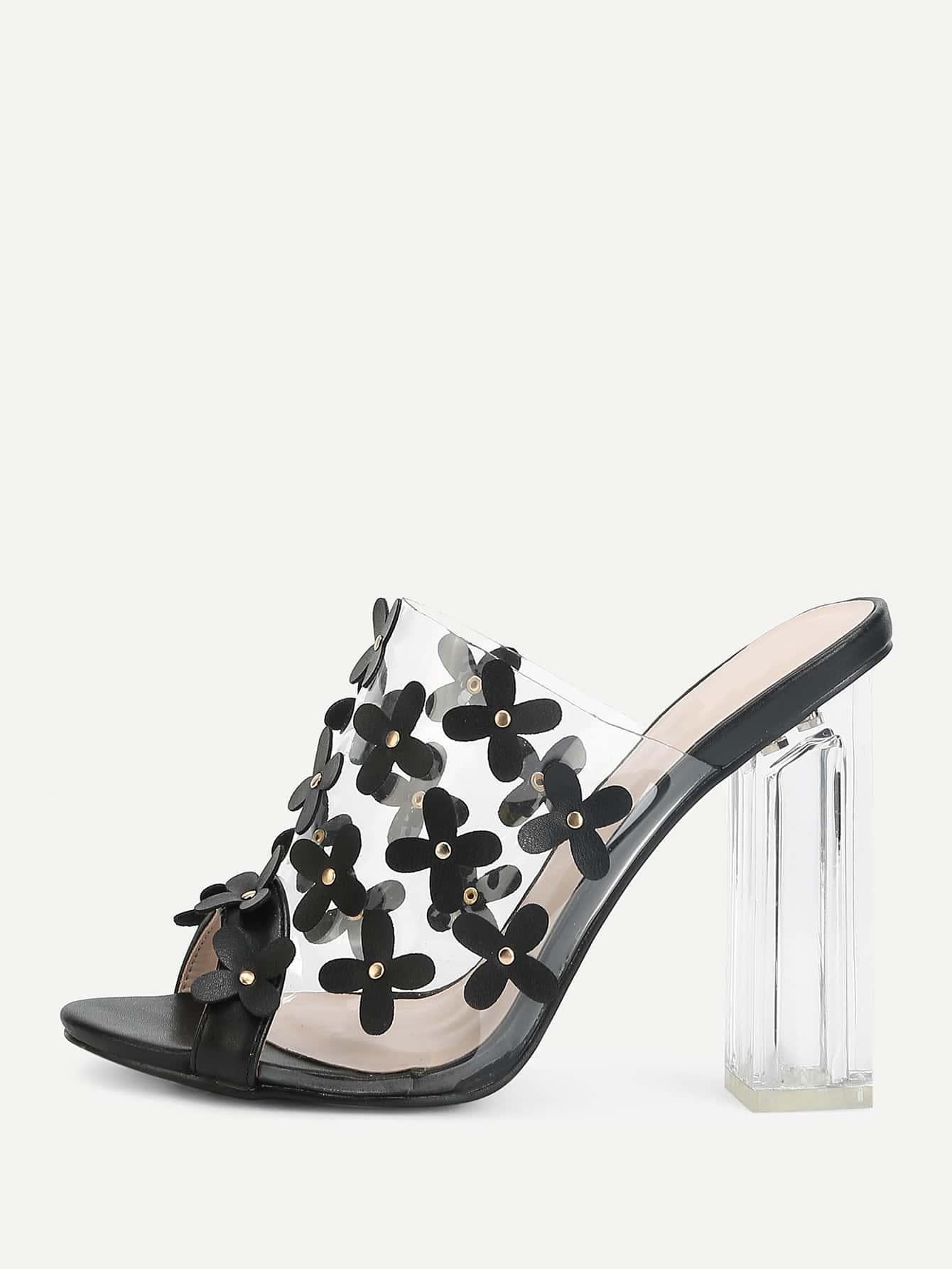 Купить Модные сандалии на каблуках с цветками, null, SheIn