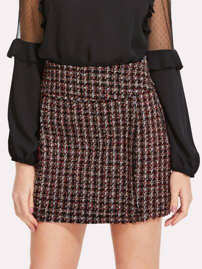 Form Fitted Tweed Skirt