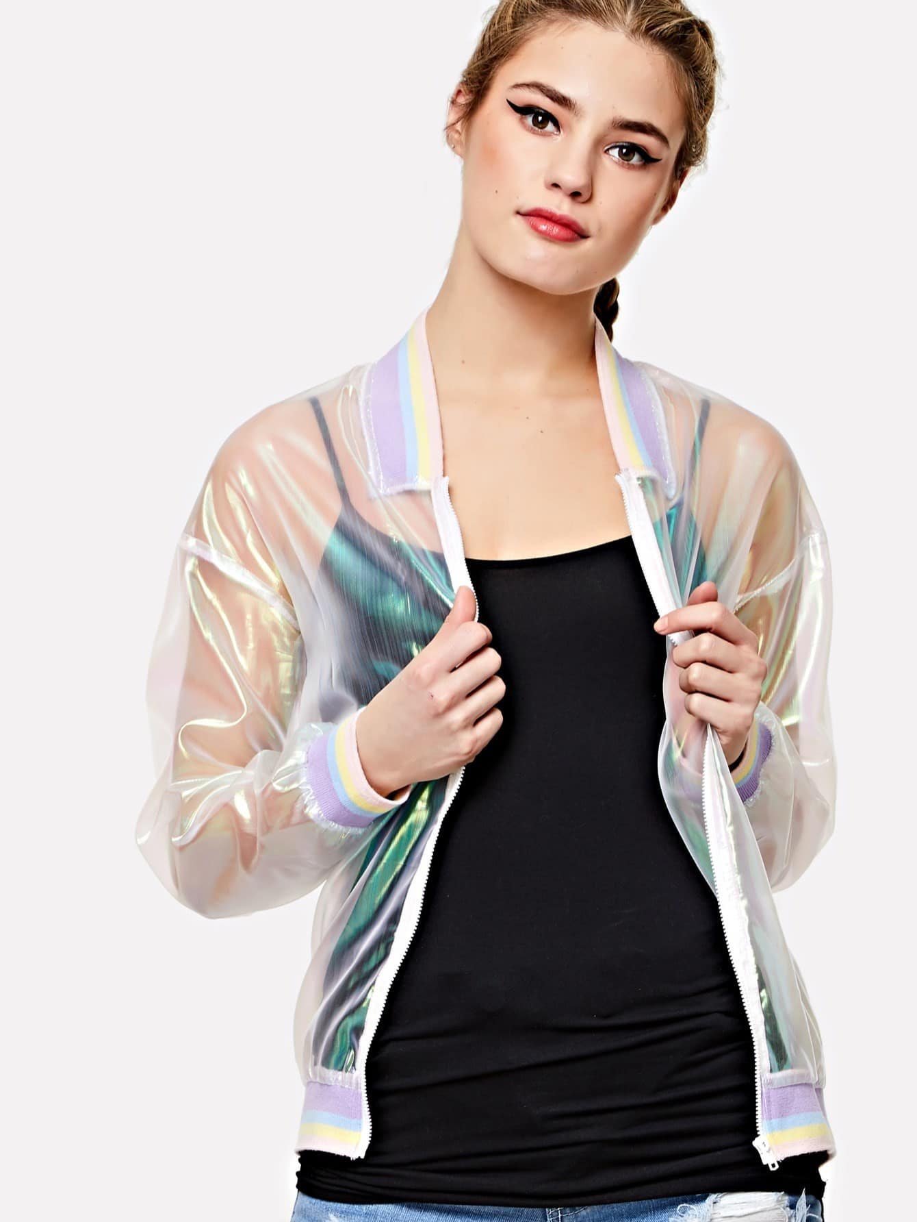 Striped Trim Iridescent Transparent Bomber Jacket striped trim fluffy panel bomber jacket
