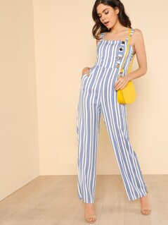 Striped Back Tie Wide Leg Jumpsuit with Button Detail