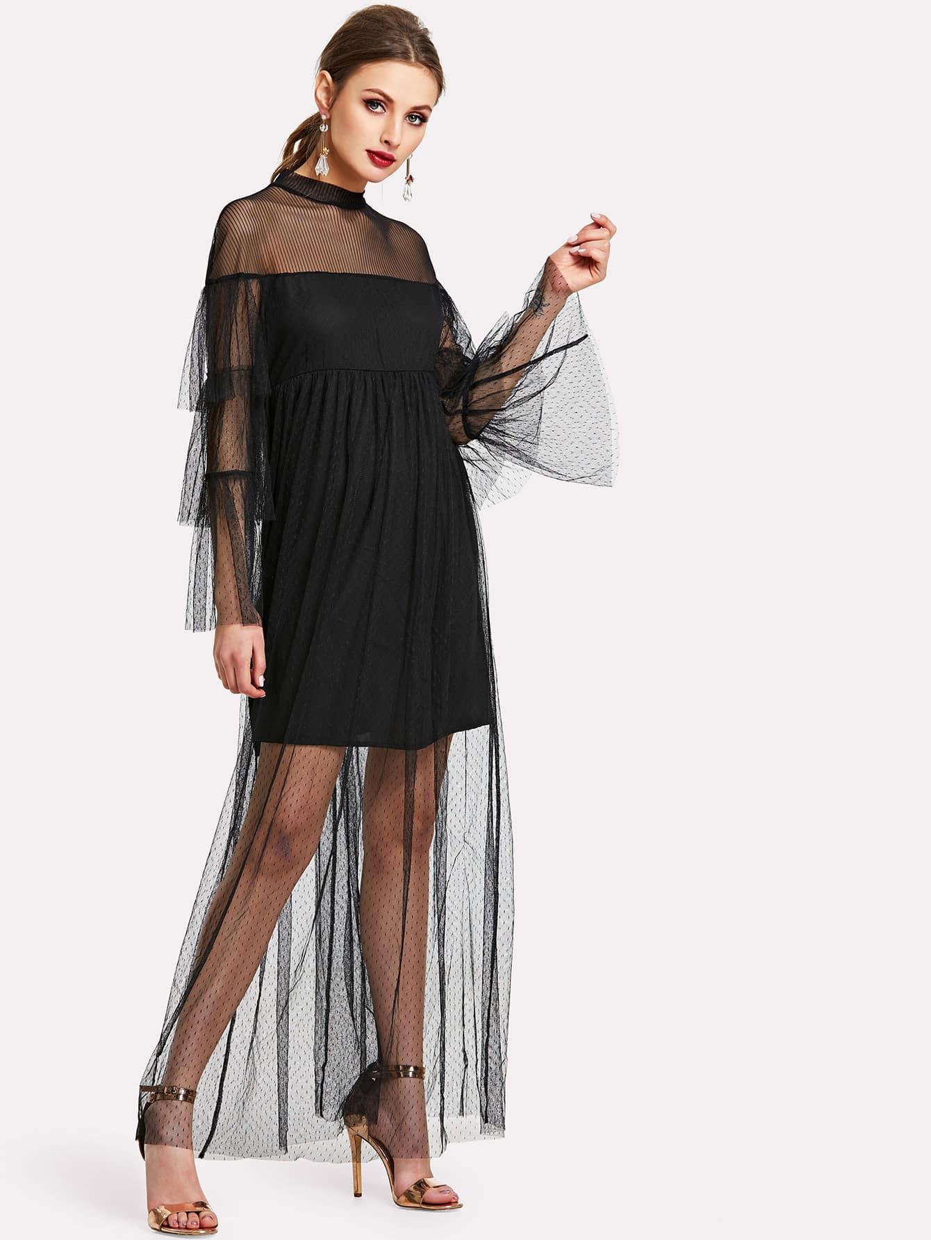 Ruffle Trim Mesh Overlay Dress ruffle mesh panel dress