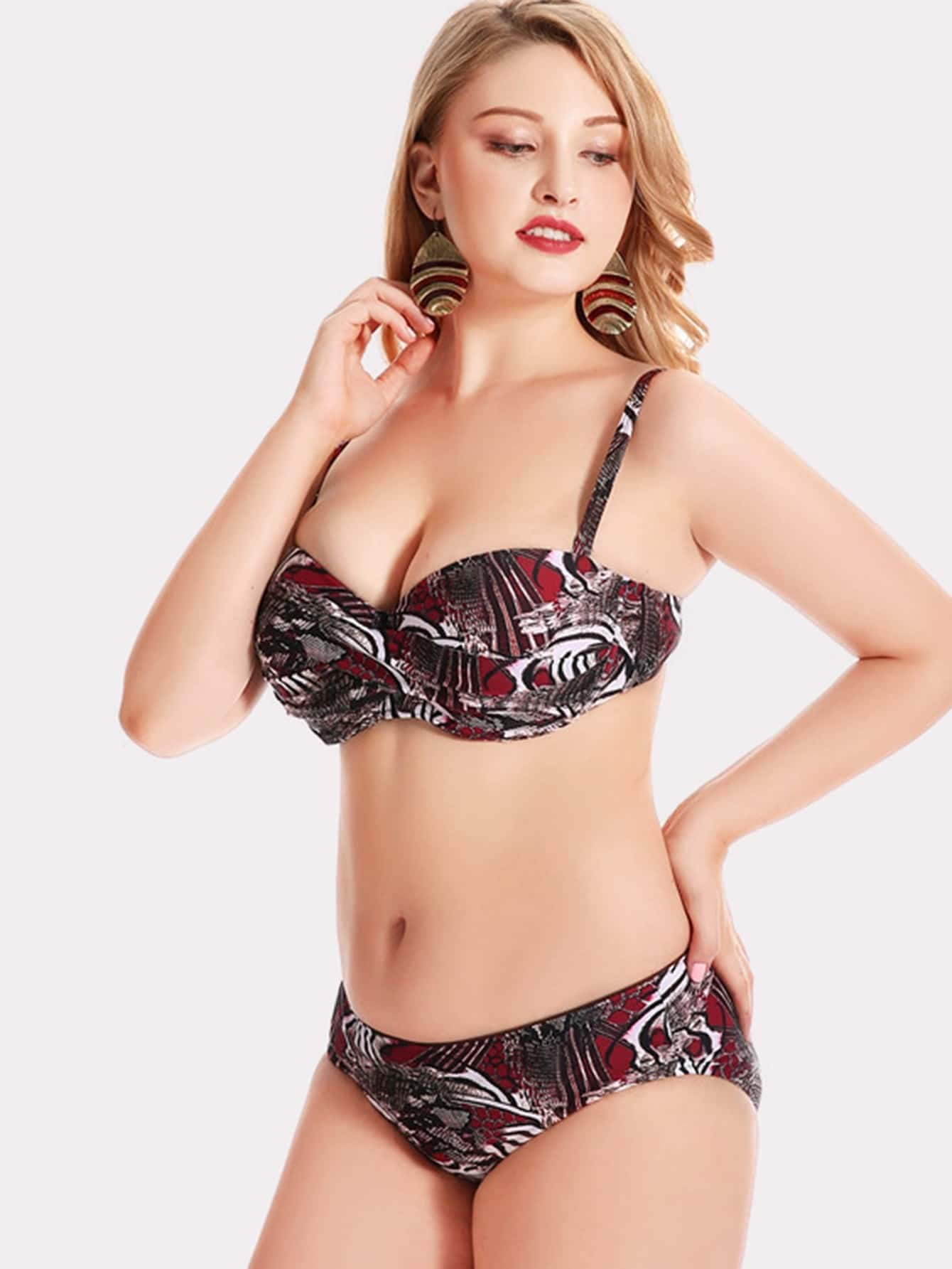 Фото Mixed Print Push Up Bikini Set checker knot bikini set