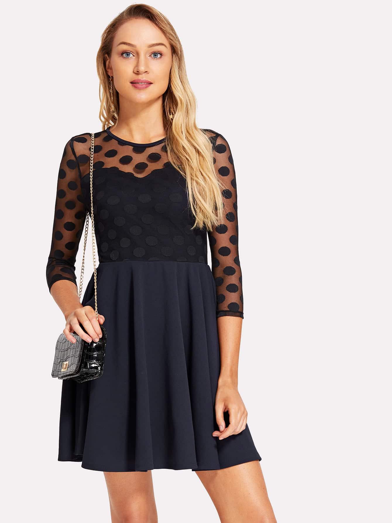 Circle Applique Mesh Fit & Flare Dress applique mesh overlay fit