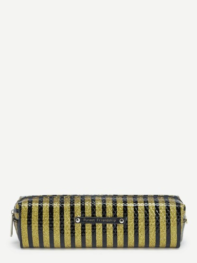 Glitter Striped Pencil Case