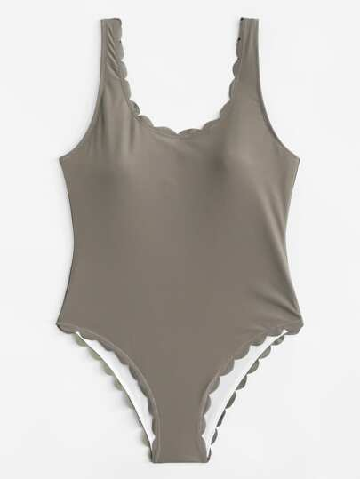 Scallop Trim Swimsuit