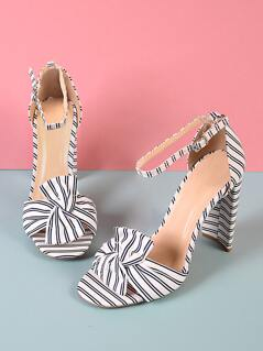 Stripe Knotted Thin Ankle Cuff Heel WHITE NAVY BLUE