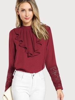 Flounce Neck Lace Cuff Top
