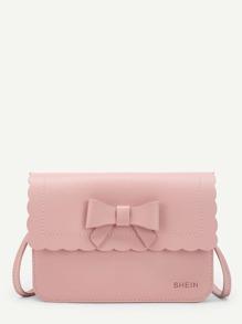 Scallop Trim PU Crossbody Bag With Bow