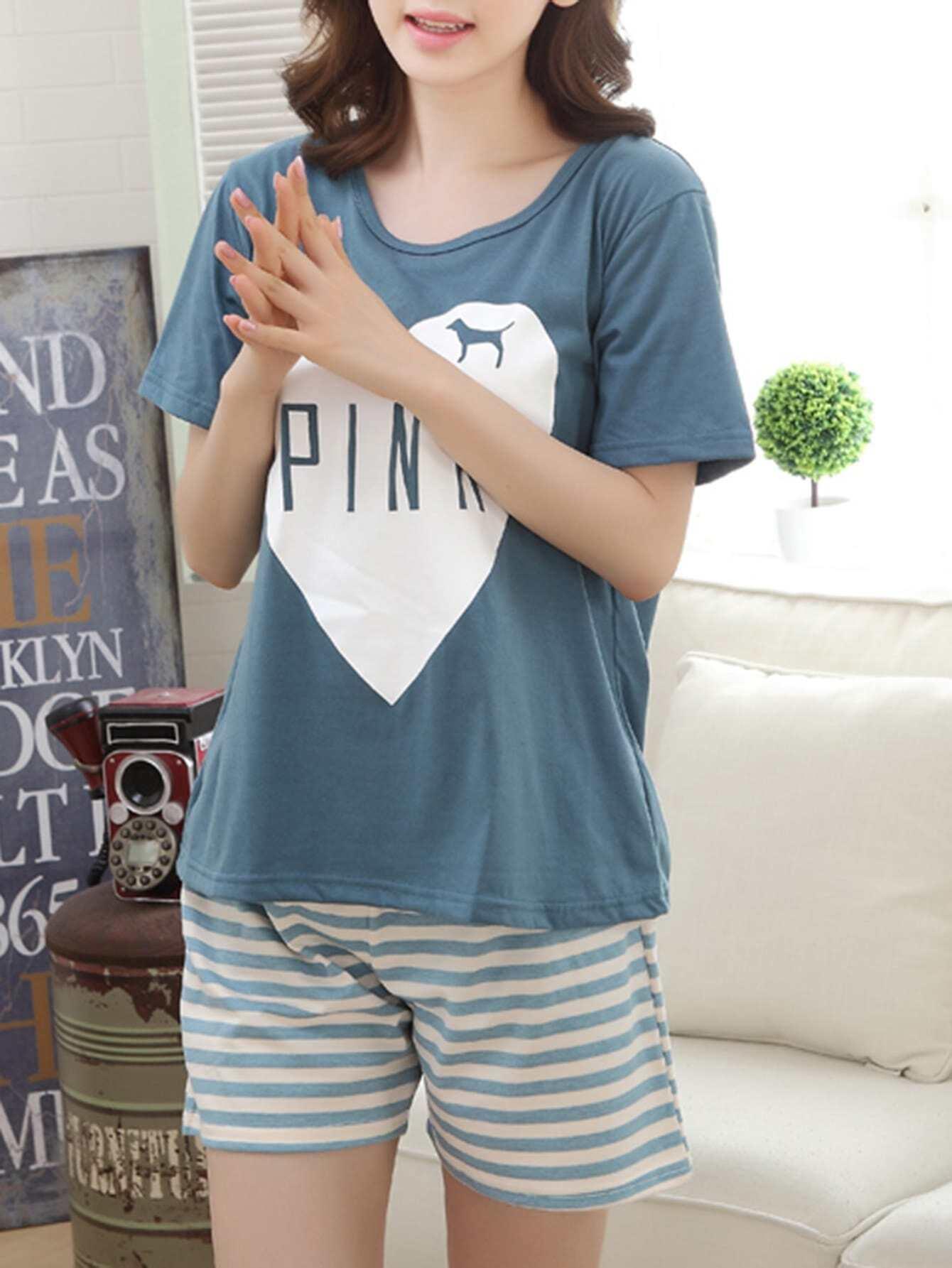 Heart Print Tee & Striped Shorts PJ Set heart print tee and striped shorts pajama set