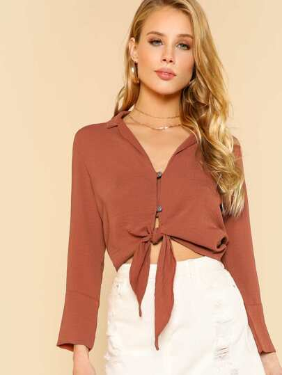 Tie Front Collared Top BRICK