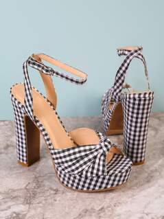 Gingham Chunky Platform Heel with Knotted Band BLACK