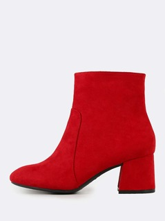 Chunky Heel Round Toe Bootie RED