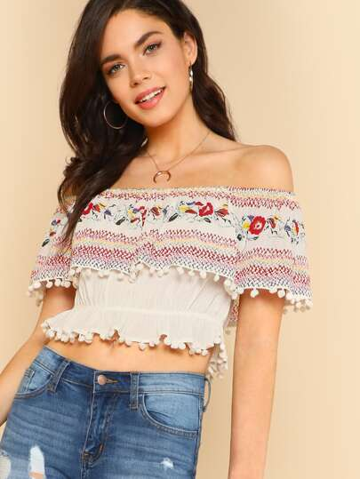 Floral Print Flounce Neckline Crop Top with Pom Pom Trim IVORY
