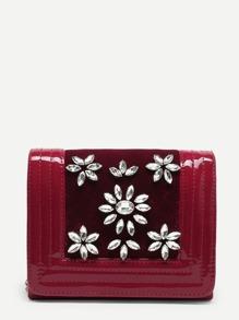 Rhinestone Flower Clutch Bag