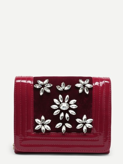 Rhinestone Flower Clutch Bag
