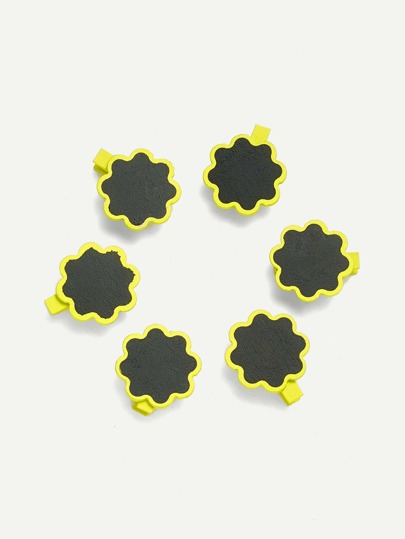 Flower Blackboard Wooden Clips 6 Pcs