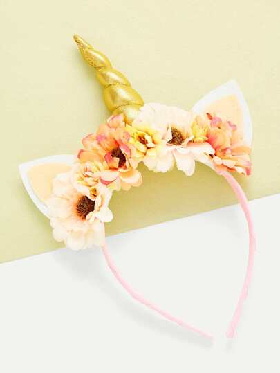 Flower Embellished Ear Design Unicorn Headband