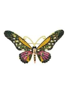 Darkgreen Rhinestone Butterfly Brooch