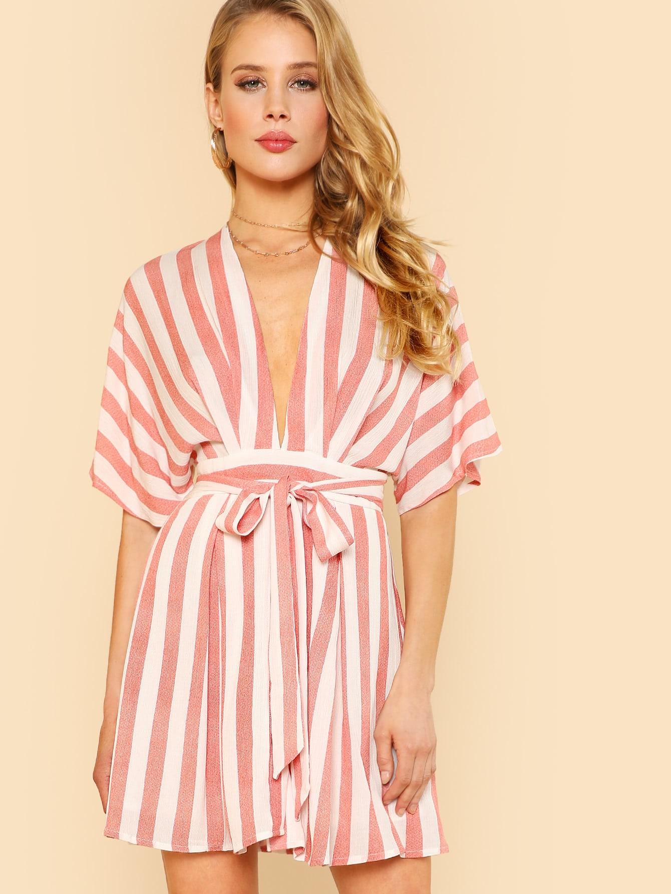 Open Back Belted Striped Dress open back fit