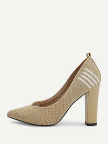 Striped Detail Block Heeled Pumps