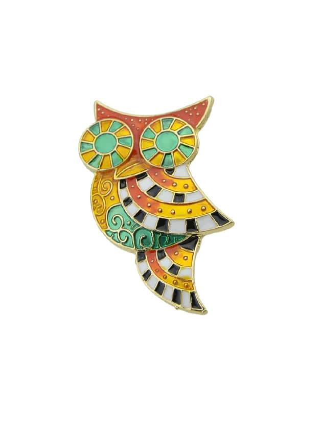 Colorful Enamel Owl Brooch enamel colorful leaves bird brooch