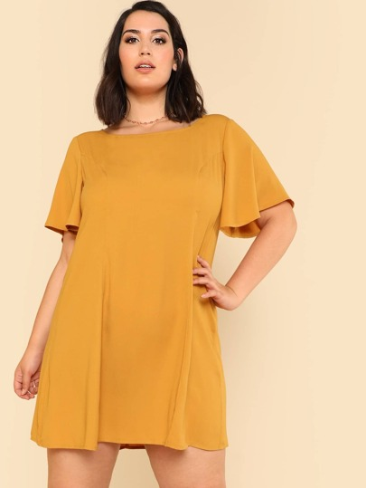 Cut Out Back Flutter Sleeve Dress