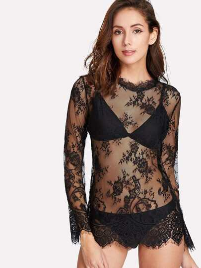 Floral Lace Top With Panty