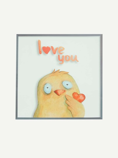 Cartoon Chick Print Wall Decal