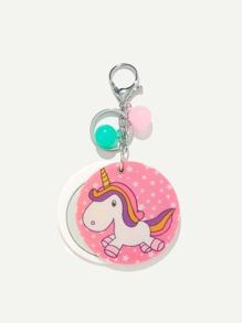 Random Color Ball Unicorn Pattern Keychain