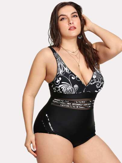 Flower Print Mesh Panel Swimsuit