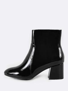 Patent Chunky Heel Round Toe Bootie BLACK