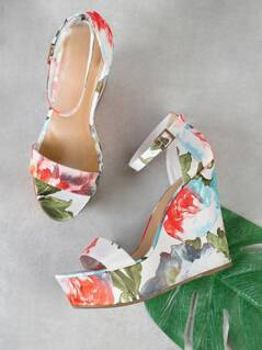 Single Band Thin Ankle Strap Floral Print Platform Wedge Sandal WHITE MULTI