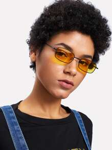Minimalist Rectangle Lens Sunglasses