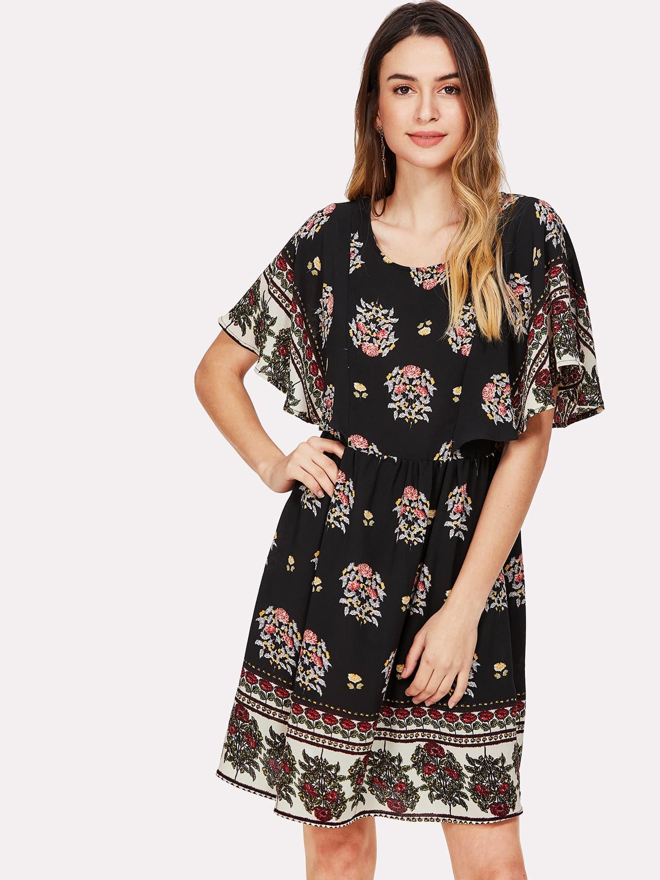 Купить Модное платье с поясом и цветочным принтом, Jana, SheIn