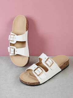 Double Buckled Strap Cork Footbed Sandal WHITE