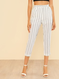 Elastic Waist Striped Crop Pants OFF WHITE
