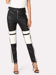 Two Tone Faux Leather Pants
