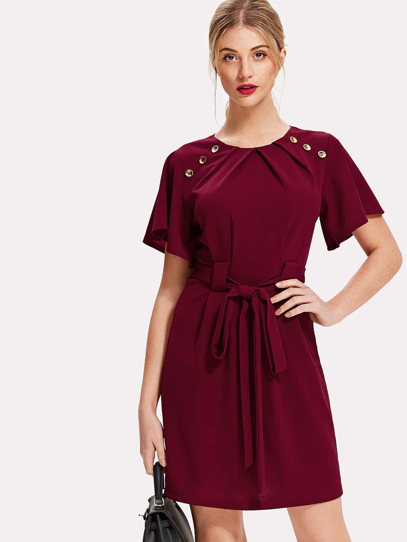 Pleated Buttoned Neck Tie Waist Dress tie neck elastic waist glitter dress