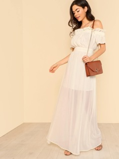Ruffle Trim Cold Shoulder Sheer Dress IVORY