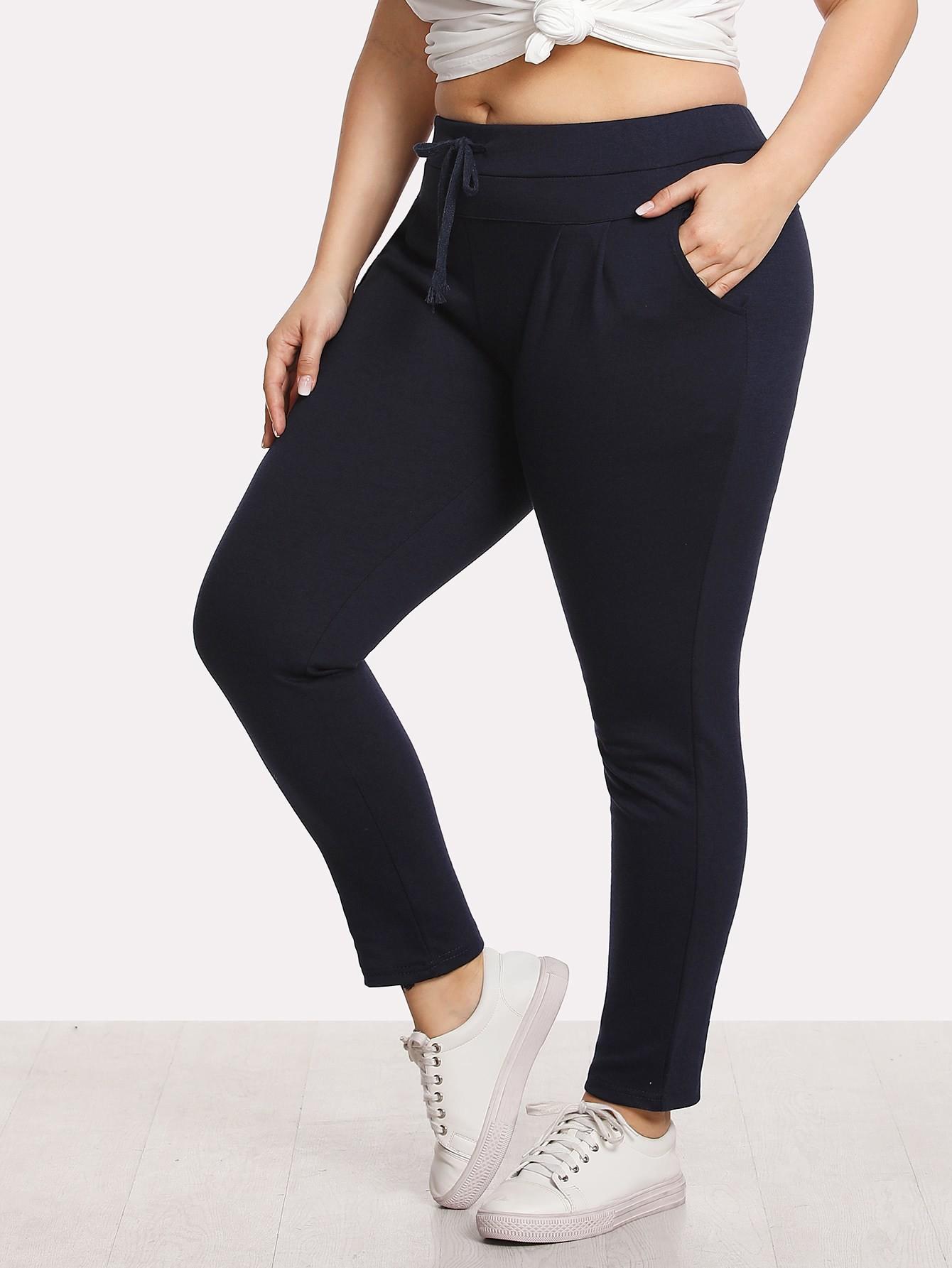 Plus Solid Color Drawstring Pants