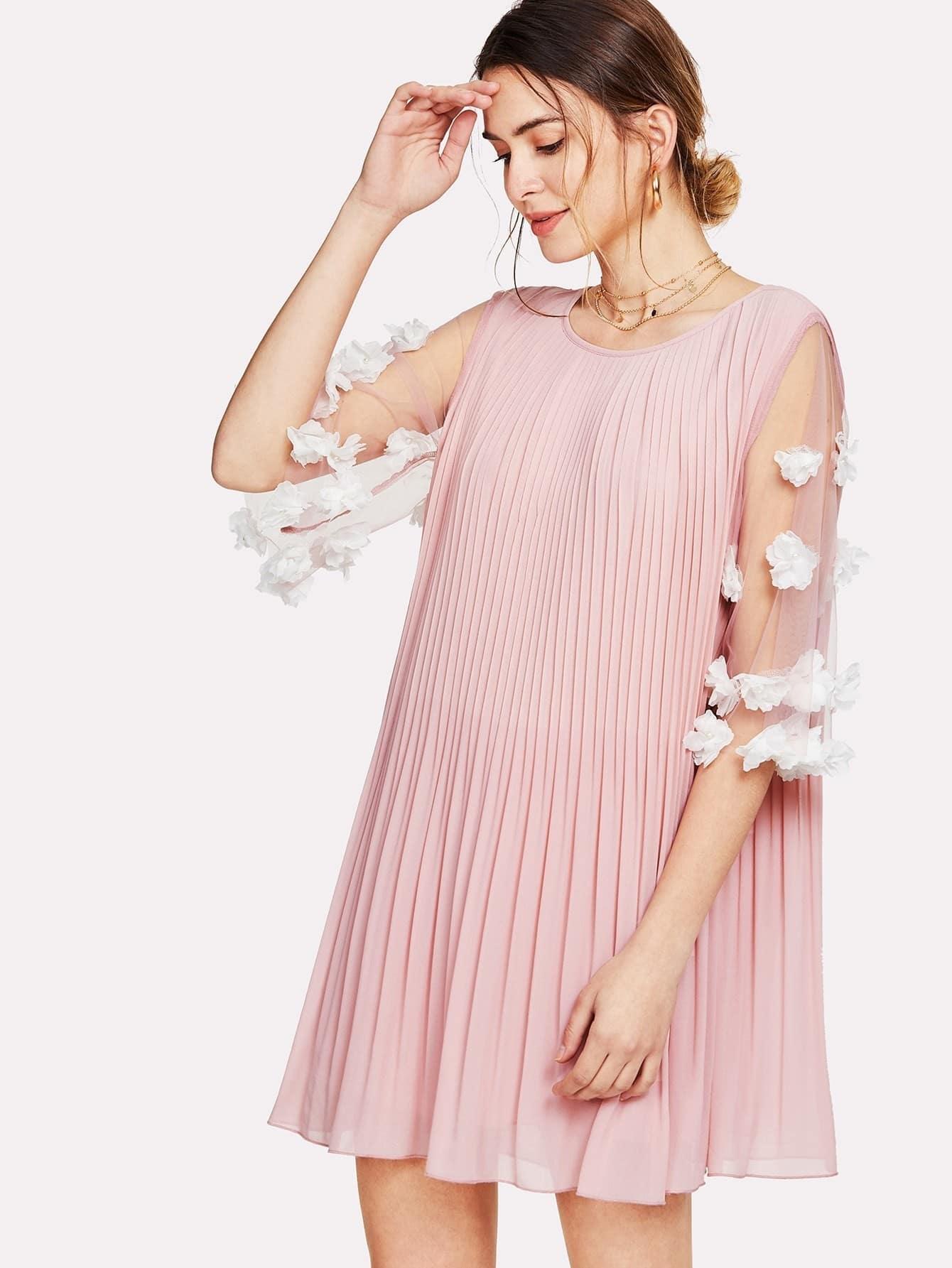 Applique Mesh Sleeve Pleated Swing Dress mesh panel sleeve dress