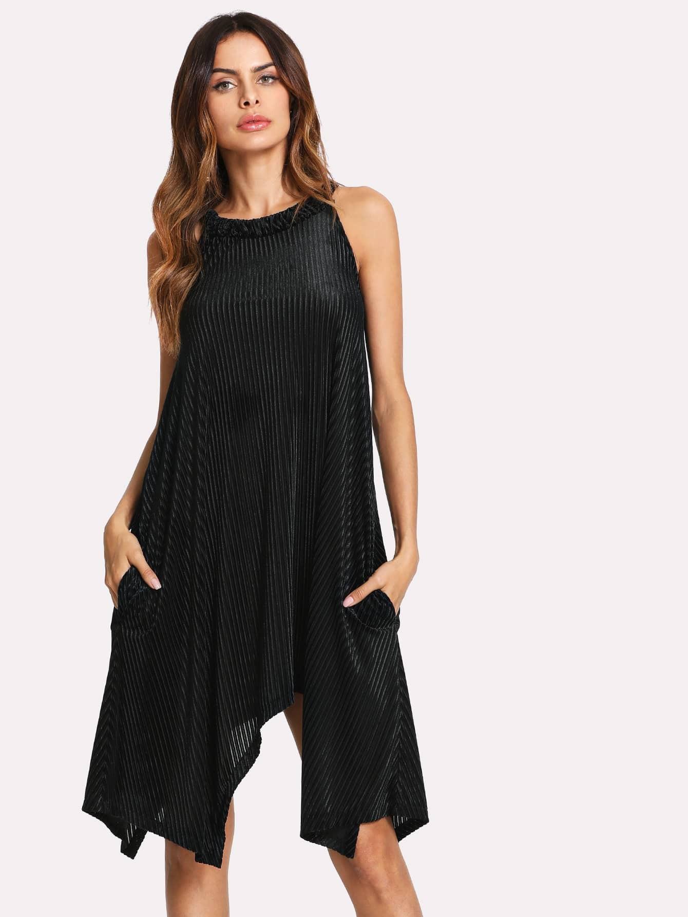 Hanky Hem Swing Halter Dress high slit hanky hem metallic halter dress