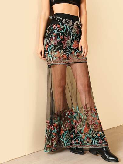 Floral Embroidered Mesh Maxi Skirt