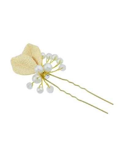 Leaf Simulated-Pearl  Flower Hair Sticks