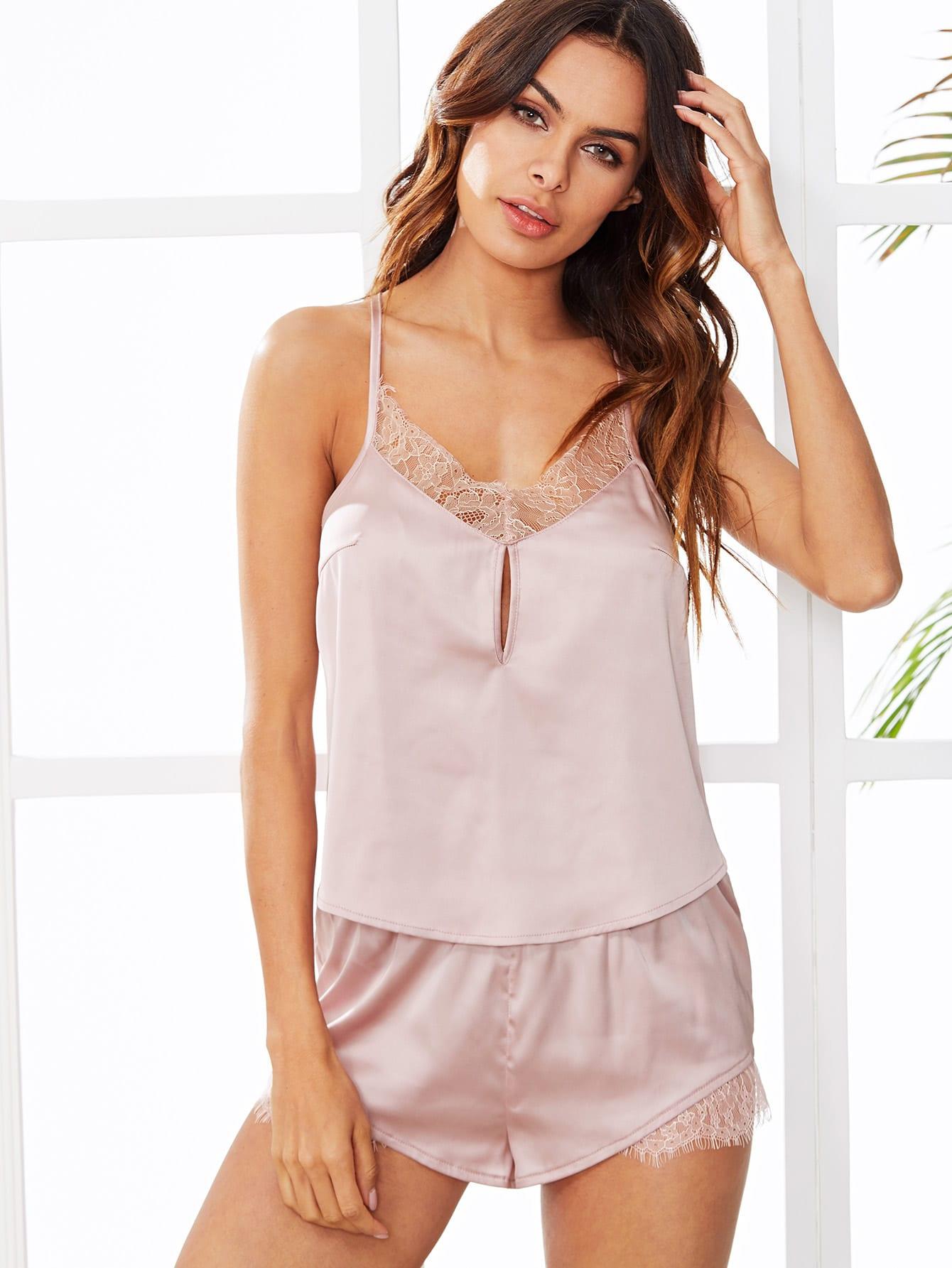 Купить Комплект пижамы топ с кружевами и шорты, Andy, SheIn