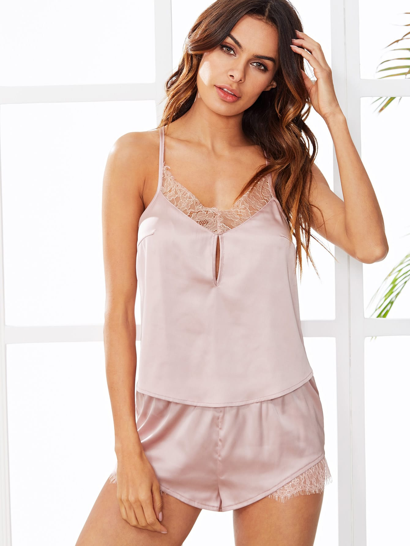 Lace Trim Satin Cami Top & Shorts PJ Set rhinestone happy easter white top shirt hot pink bunny rabbit satin trim baby girl skirt set 1 8y mapsa0494
