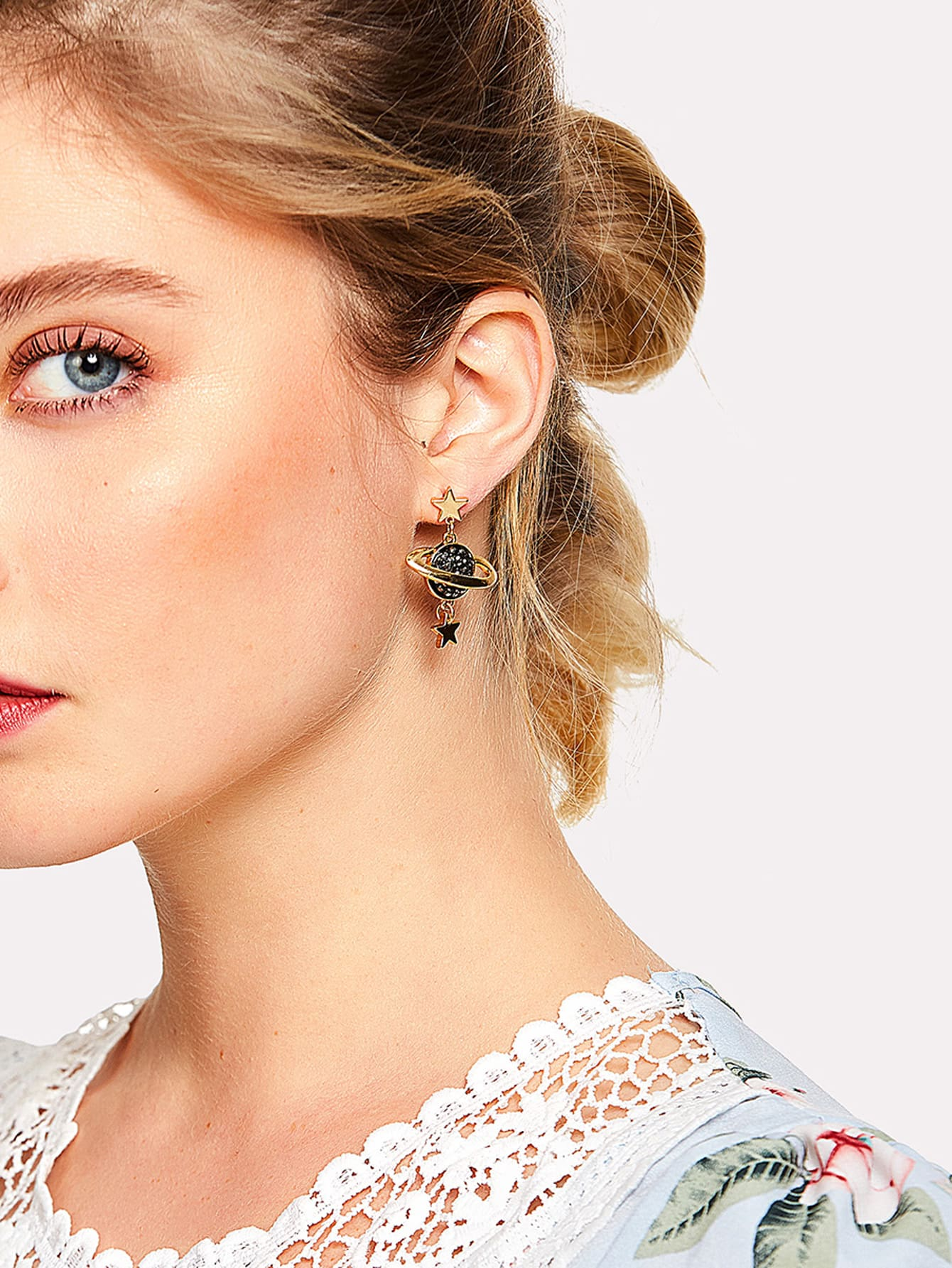 Planet & Moon Design Mismatch Earrings