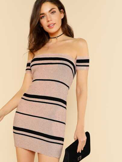 Striped Short Sleeve Off Shoulder Ribbed Knit Dress PINK BLACK