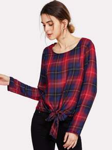 Knot Front Plaid Top