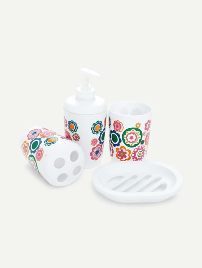 Flower Print Bathroom Accessory 4pcs